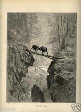 1880= FAVOLE DI LA FONTAINE= LE DUE CAPRE = Antica STAMPA di G.DORÉ