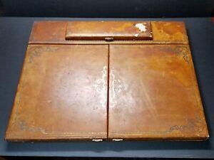 Antique Portable Folding Leather Desk Blotter w/Pen Box ~ Cuir Veritable France