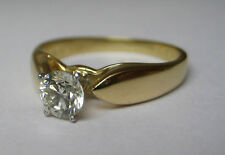 Vintage .5 ct Diamond Solitaire Engagement Ring Solid 18k Yellow Gold & Platinum