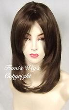 Elegante cara marco en capas Recto Peluca en medio marrón + destaca de Fumi Pelucas