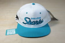 VINTAGE SPORTS SPECIALTIES NHL SAN JOSE SHARKS SCRIPT SNAPBACK HAT NWT CAP WHITE