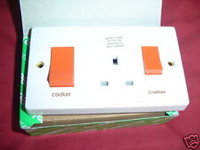 Crabtee  COOKER SWITCH double with 13amp socket  45amp 4521/1