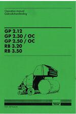 DEUTZ FAHR balle ronde GP 2.12 - 2.30 - 2,50 + RB 3.20 - 3.50 manuel d'utilisation