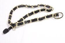 Elegant Women Long Snakeskin Pattern Black Belt with Gold Rings (S272)