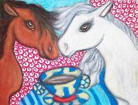 Pony Drinking Coffee Folk Art Print 8 x 10 Signed Artist Kimberly Helgeson Sams
