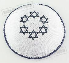 White Star of David Knitted Kippah Yarmulke Tribal Jewish Yamaka Kippa Israel