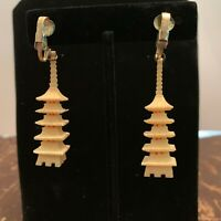 Vintage Carved Bovine Pagoda Shaped Clip On Earrings