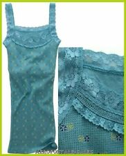 fddcb5bd10 AEROPOSTALE LACE STRAPS FLORAL FOUNTAIN BLUE THERMAL TANK TOP CAMI CAMISOLE  to S