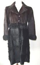 FENDI Chocolate Brown Black Goat Alpaca Fur Coat 44 8