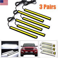 6× 12V Car COB LED Chip Daytime Running Light Lamp White Bar Strips Super Bright
