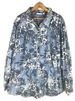 D&Co 3X Shirt Top Blue Floral Chambray Jean Denim Button Down Romantic Boho ca