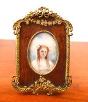 Rare Antique Victorian French Metal Wood Swags Ormolu Gilt Art Nouveau Frame