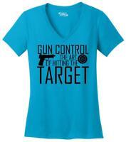 Gun Control Hitting Target Funny Ladies V-Neck T Shirt Gun Rights Guns Tee Z5