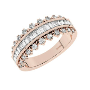 1.0 Cts Round Brilliant & Baguette Cut Diamonds Half Eternity Ring 18K Rose Gold