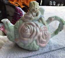 Avon Cherub And Roses Teapot With Green Leaves