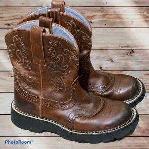 """Ariat Fatbaby Brown Leather Saddle Roper Short 8"""" Cowboy Boots Womens Size 6 B"""