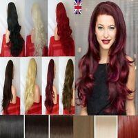 Uk Womens 3/4 Wig Fall Half Wig Clip In Hair Piece Black Blonde Highlight Brown