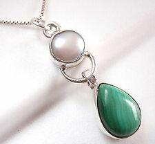 Malachite & Freshwater Pearl Necklace 925 Sterling Silver Teardrop Cabochon New