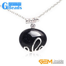 30x37mm Oval Stone Tibetan Silver Pendant+Chain Fashion Jewelry Free Shipping