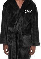PERSONALISED Mens Gents LUXURY Fleece Dressing Gown Robe Black Xmas GIFT Med-5XL