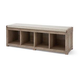 4-Cube Organizer Storage Bench Entryway Living Room Bedroom - Multiple Finishes