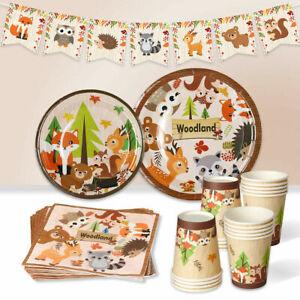 Woodland Safari Animal Paper Tableware Baby Shower Birthday Party Decor Supplies