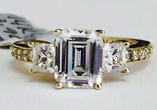 Solid 14K Yellow Gold Three Stone Emerald Cut Cubic Zirconia CZ Engagement Ring
