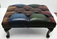 Chesterfield Patchwork Deep Buttoned Queen Anne Footstool 100% Leather