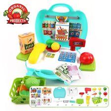 Kids Children Pretend Role Play Toy Supermarket Cash register Suitcase