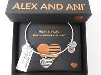 Alex and Ani Heart Flag Bangle Bracelet Rafaelian Silver New Tag Box Card 2018