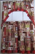 "3 pc Curtains Set: 2 Tier (30"" x 36"") & Swag (60"" x 56""), COFFEE, ""GLENDA"", red"