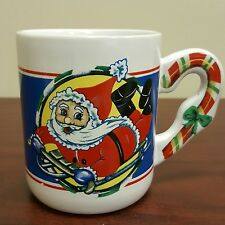 Cartoon Santa Claus on Snowboard Coffee Mug Christmas Candy Cane Handle