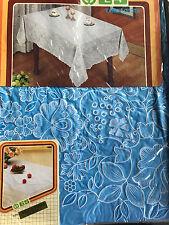 135x135 cm Tischdecke Blau Quadratisch Camping SCHUTZDECKE Blumenmuster Vinyl