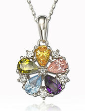 Suzy Levian Flower Multi-Color CZ White Sterling Silver & 18K Gold Logo Pendant