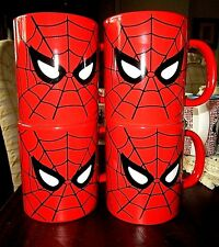 SPIDERMAN MUGS RED**2011 MARVEL COMICS SUPERHERO**SET OF 4**NEW w/tag