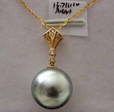 14k solid gold AAA+ 13.7mm TAHITIAN SALTWATER PEARL PENDANT