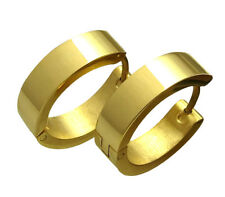 Kikuchi Ohrringe gold hochglänz Edelstahl Klapp Creolen 5mm/18mmØ Herren Damen
