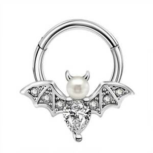 16G CZ Pearl Bat Daith Earrings Septum Clicker Nose Rings Helix Tragus Piercings