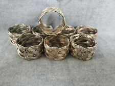 """Napkin Rings Woven stainless steel Wire Table Setting 1.5 """"Dia 1"""" Wide Set of 8"""