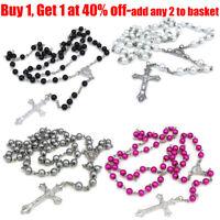 Women Long Rosary Beads Cross In Silver Cross Tone Necklace For Women Men Girl