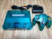 D22 Nintendo 64 console Clear Blue Japan N64 w/controller adapter cable FS