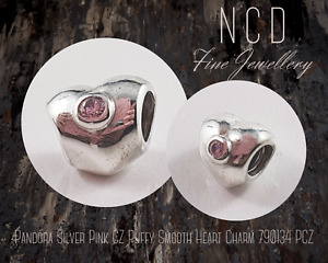 NC Designs Authentic Pandora Silver Pink CZ Puffy Smooth Heart Charm 790134 PCZ
