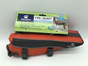 TOP PAW Bright Orange Neoprene Reflective Dog Life Jacket Vest S Size 15-30 LBS