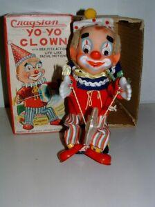 * 1960s CRAGSTAN BATTERY-OP TIN-LITHO YO-YO CLOWN WITH THE BOX RARE
