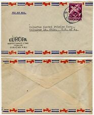 CURACAO AIRMAIL ADVERTISING ENVELOPE EUROPA 12 1/2c SINGLE FRANKING to USA 1948