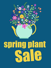 "Spring Plant Sale Florist Business Retail Display Sign, 18""w x 24""h, Full Color"