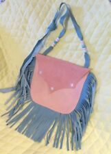 LADIES WESTERN PURSE - PINK & BLUE GENUINE LEATHER - LONG STRAP - LINHILL