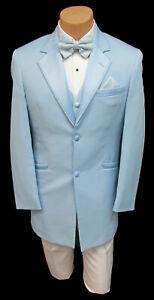 Men's Retro Blue Tuxedo with White Pants Vest Bow Tie & Pocket Square 40 Regular