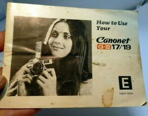 Canon Canonet G-III 17 19 Instruction Guide English 35mm film rangefinder camera