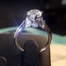 Stunning Jewelry 1ct Diamonique Cz 925 Silver Women Engagement Wedding Ring